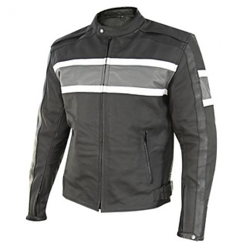 Xelement Mens Scrambler Black/Gray Matte Leather Motorcycle Jacket